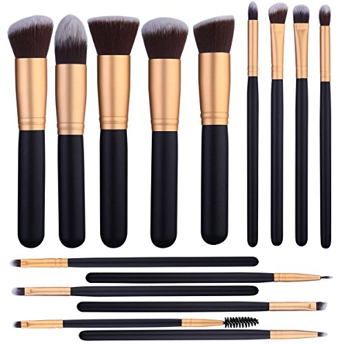 15 Pcs Makeup Brushes Set Kabuki Foundation Contour Blending Blush Concealer Face Eye Shadow Brush Synthetic Complete Cosmetic Brush Kit for Powder Liquid Cream Cosmetic Eye Contour Brush