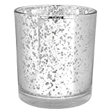 Just Artifacts Mercury Glass Votive Candle Holders 3'' H Speckled Silver (Set of 12) - Mercury Glass Votive Candle Holders for Weddings and Home DÃcor