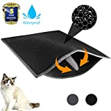 Waretary Professional Cat Litter Mat, XL Jumbo 30' x 24', Honeycomb Double Layer Waterproof Urine Proof Trapping Mat for Litter Boxes, Large Size Easy Clean Scatter Control (Black)