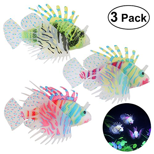 (UEETEK Aquarium Fish Tank Decorations, Silicone Lionfish Fake Fish Floating Decorations Ornament Glow-Pack of 3)