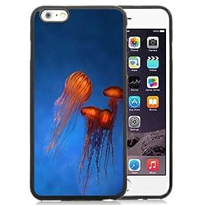 NEW Unique Custom Designed iPhone 6 Plus 5.5 Inch Phone Case With Orange Jellyfish Rising Blue Ocean_Black Phone Case