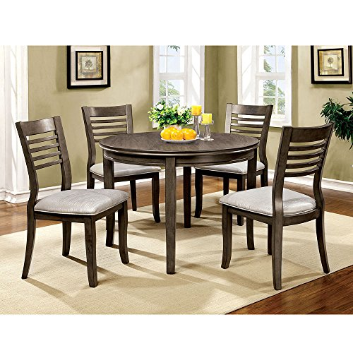 "1PerfectChoice Dwight 5 pcs 48""D Round Dining Table Set Padded Leatherette Side Chair Wood Gray"