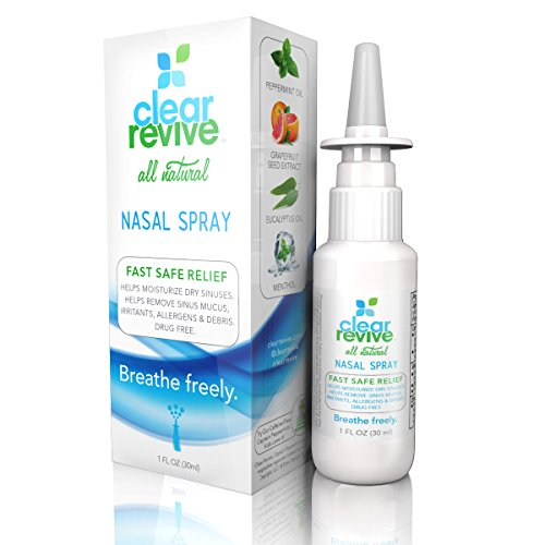 Clear Revive - All Natural, 24 Hour Fast Relief, Non-Drowsy Allergy Nasal and Sinus Spray, 60 Metered Sprays