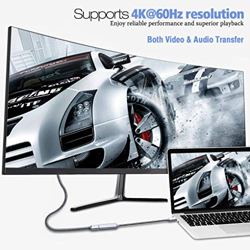 Highwings USB C to HDMI Adapter (4K@60Hz), Type C to HDMI Adapter,Thunderbolt 3 Compatible,Compatible Samsung Galaxy Note 9/S8/S9 Plus/Note8,Surfacebook 2, Pixelbook,2017 MacBook, 2017 iMac,Grey by Highwings (Image #1)