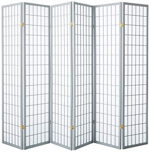 Shoji Fai Da Te.Oriental Furniture 6 Feet Window Pane Japanese Shoji Folding Privacy Screen Room Divider 6 Panel Grey