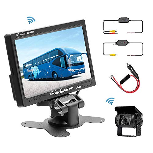 Upgraded Wireless Backup Camera RC 12V 24V Easy-Install Waterproof Night Vision Rear View Camera Without Grid Lines 7 TFT LCD Monitor Parking Assistance System for Truck Van Caravan Trailers