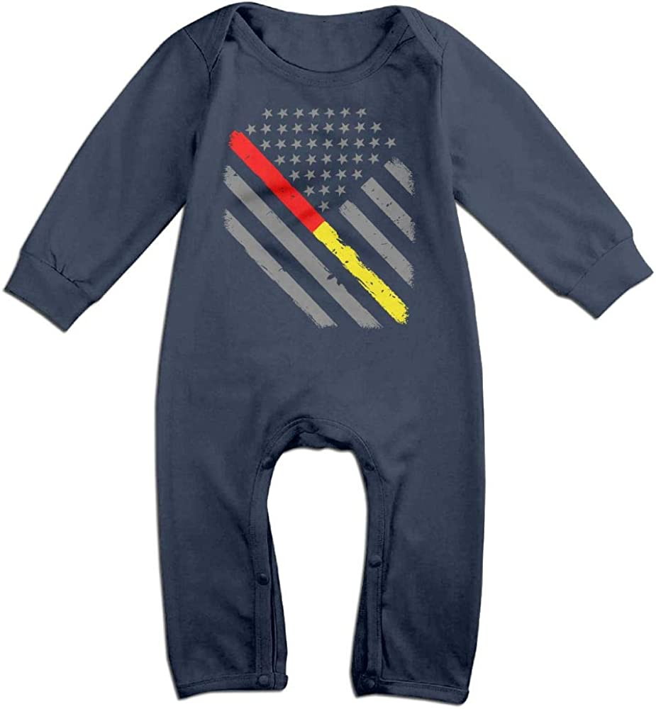 Fashion Firefighter Red Line American Flag Playsuit Long Sleeve Cotton Rompers for Unisex Baby