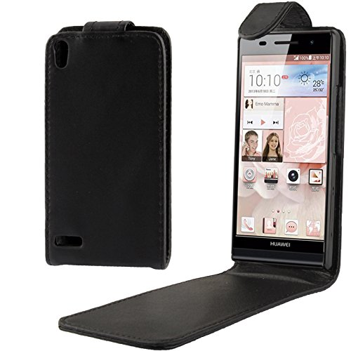 Leya Smartphone Leather Case Vertical Flip Soft Leather Case for Huawei Ascend P6 (Black)]()