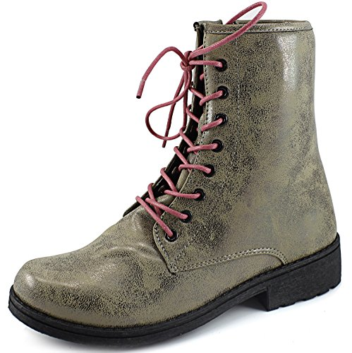 Womens Qupid Missile-04 Military Up Bootie Taupe Brz