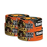 """Gorilla Tape, Black Tough & Wide Duct Tape, 2.88"""" x 30 yd, Black, (Pack of 4)"""
