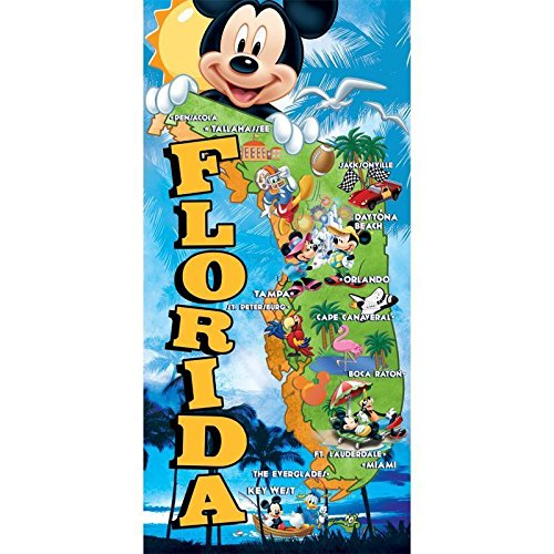 Jerry Leigh Disney's Mickey Mouse & Friends Florida Map Beach Towel 28 in X 58 -