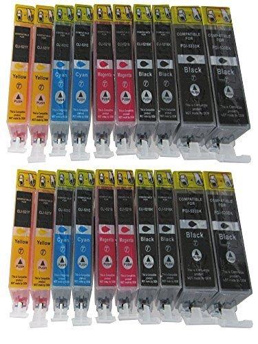 20 Druckerpatronen für Canon Pixma MP540 MP540X MP550 MP560 MP620 MP620B MP630 MP640 MP980 MX860 MX870 ip3600 ip4600 ip4700 MP 540 550 560 620 630 640 980 ip 3600 3700 4700 mx 860 870 KOMPATIBEL Patronen mit Chip Kompatibel zu Canon PGI-520BK CLI-521BK CLI-521C CLI-521M CLI-521Y (mit Füllstandsanzeige / Füllmenge schwarz dick 20ml Füllmenge je Photoschwarz / Blau / Rot / Gelb 10,5ml / sie bekommen 4 x PGI-520BK 4 x CLI-521BK 4 x Cli-521C 4 x CLI-521M 4 x CLI-521Y)