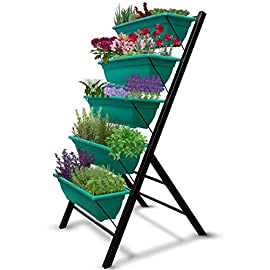 "4-Ft Raised Garden Bed - Vertical Garden Freestanding Elevated Planters 5 Container Boxes - Good Patio Balcony Indoor Outdoor - Cascading Water Drainage to Grow Vegetables Herbs Flowers 1 ✓ EASY TO ASSEMBLE w/ CASCADING DRAINAGE SYSTEM - with easy to follow instructions included, assembly of your vertical garden will be quick and simple. The drainage system lets water flow from the top down to each succeeding row to ensure all plants are adequately watered and no stagnant water remains. ✓ PERFECT TIGHT SPACE SOLUTION - Each hanging plastic box container is 24"". Provides adequate room for your plants without wasting any precious space in a small apartment, patio, balcony, yard, deck, front porch or any outside area. Grow a variety of herbs, seeds, flowers, succulents or vegetables in just a single area at home. ✓ MODERN ERGONOMICALLY DESIGNED & AESTHETICALLY PLEASING - if you are unable to enjoy gardening due to hip and back issues, this is the product you are looking for. Farmhouse has never been this easy; especially for seniors . Add a unique beauty and style unlike any other to your deck, patio or yard!"
