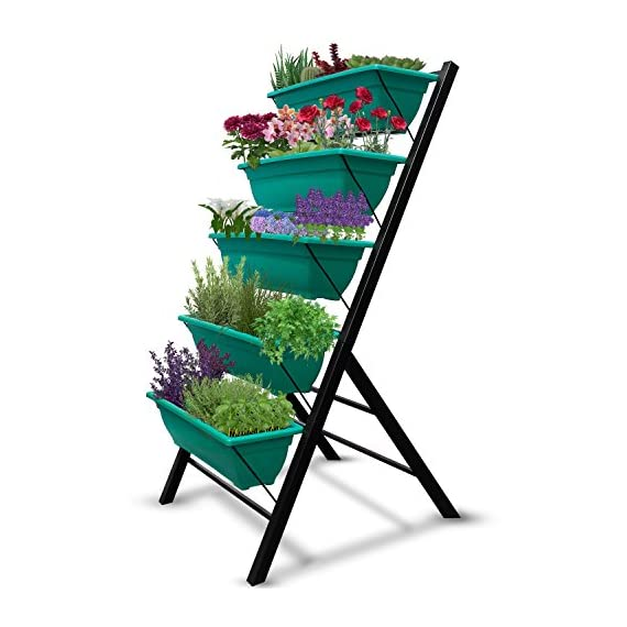"""4-Ft Raised Garden Bed - Vertical Garden Freestanding Elevated Planters 5 Container Boxes - Good Patio Balcony Indoor Outdoor - Cascading Water Drainage to Grow Vegetables Herbs Flowers 1 ✓ EASY TO ASSEMBLE w/ CASCADING DRAINAGE SYSTEM - with easy to follow instructions included, assembly of your vertical garden will be quick and simple. The drainage system lets water flow from the top down to each succeeding row to ensure all plants are adequately watered and no stagnant water remains. ✓ PERFECT TIGHT SPACE SOLUTION - Each hanging plastic box container is 24"""". Provides adequate room for your plants without wasting any precious space in a small apartment, patio, balcony, yard, deck, front porch or any outside area. Grow a variety of herbs, seeds, flowers, succulents or vegetables in just a single area at home. ✓ MODERN ERGONOMICALLY DESIGNED & AESTHETICALLY PLEASING - if you are unable to enjoy gardening due to hip and back issues, this is the product you are looking for. Farmhouse has never been this easy; especially for seniors . Add a unique beauty and style unlike any other to your deck, patio or yard!"""