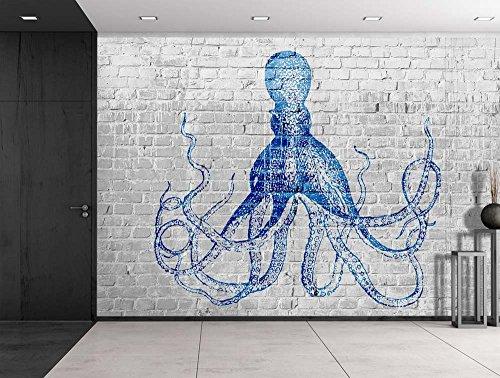 Cheap  Wall26 - Blue Octopus Sketched onto a Gray Brickwall - Wall Mural,..