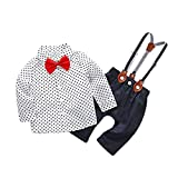 Pumsun ❤️ Infant Baby Boys Gentleman Stars Tops T-Shirt Suspenders Strap Pants Set Outfits (80, White)