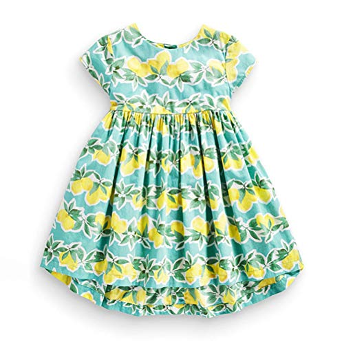 HILEELANG Little Girl Short Sleeve Cotton Fruit Lemo Print Tunic A-Line Tiered Swing Summer Dress -