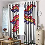 EwaskyOnline Kids Curtains,Mushroom Fairy Elf on Agaric Mushroom with Monocular Tube Colorful Artistic Wings Mythical,Darkening Thermal Insulated Blackout,W72x84L Multicolor