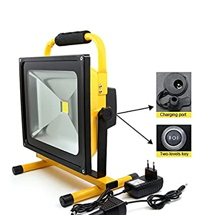 Camping-Lampen & -Laternen LED Floodlight 50W Portable Rechargeable Thin Cordless Daylight Color Waterproof