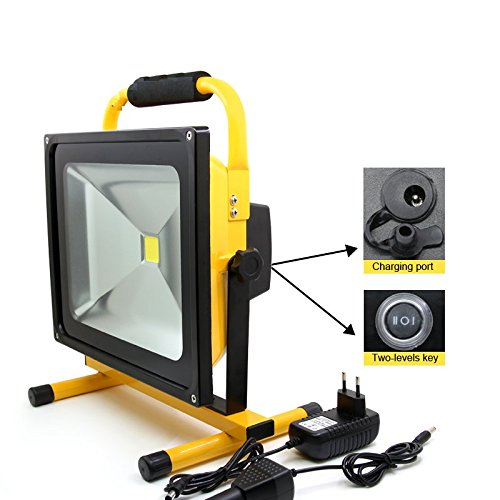 50W Ultra Bright MyraBec CORDLESS Rechargeable LED Floodlight, 2 Brightness Levels, for Contractors, Theaters, Farm, Job Site & Large Areas