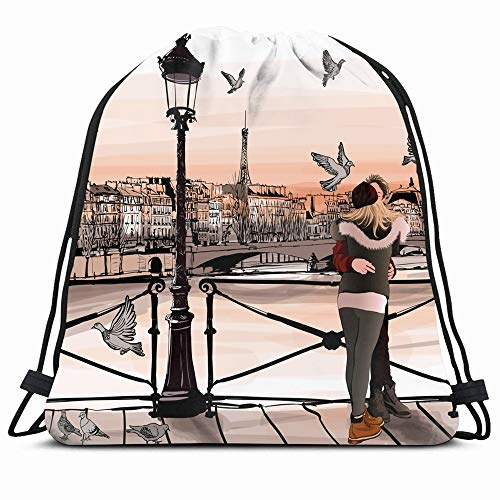 Ahawoso Gym Drawstring Bags Backpack String Bag 14X16 Watercolor Romantic Young Man Couple Love On Pont Des River City People Architecture Bridge Cityscape Sport Sackpack Hiking Yoga Travel Beach (Planning A Romantic Evening For A Man)