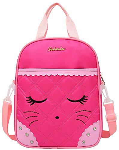 Cute Cat Face Bow Diamond Bling Waterproof Pink School Backpack Girls Lunch bags (Rose)