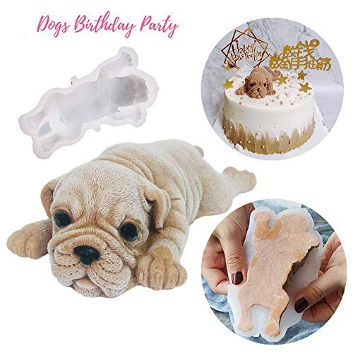 3D Shar Pei Silicone Cake Mold, SIKSIN Fondant Mousse Cake Decoration Mold, Dog Chocolate Mould, Candy, Soap, Ice Making, Candle Mold - 4Inch 2nd Generation