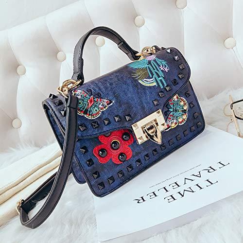 Sac coréenne Port Mode Sac carré Version Petit à épaule Rétro Main WSLMHH féminin Messenger Rivet de Bleu Bag marée la Sauvage 5ZqxB07ttn