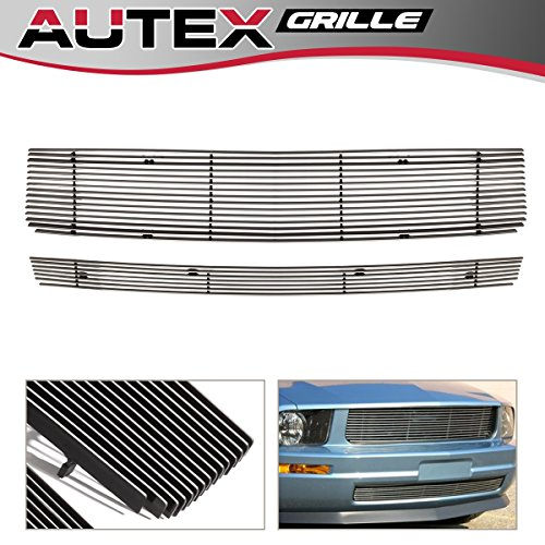 AUTEX Aluminum Chrome Polished Horizontal Grill Compatible With Ford Mustang V6 2005-2009 Billet Main Upper Grille Insert + Lower Bumper Grille Combo F67984A