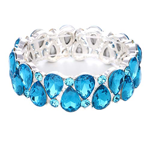 Youfir Bridal Austrian Crystal Teardrop Knot Elastic Stretch Bracelet for Brides Wedding Party(B-Sky Blue)