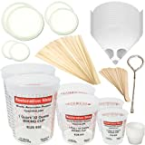 "TCP GLOBAL Premium Paint Mixing Essentials Kit. Comes with 12 Mixing Cups, 6 Lids, 12 Wooden 12"" Mixing Sticks, 12 Wooden Mini Mixing Paddles, 12 HQ 190 Mesh Paint Strainers & Paint Can Opener."