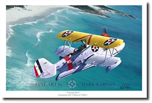 J2F-2 Duck by Mark Karvon - Aviation Art - WWII - Decor - Grumman - World War -