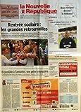 NOUVELLE REPUBLIQUE (LA) N? 18800 du 05-09-2006 INDRE ET LOIRE - RENTREE SCOLAIRE - LES GRANDES RETROUVAILLES - EDUCATION - EXPOSITION A L'AMIANTE UNE PEINE EXEMPLAIRE - EDITORIAL - INEGALITES SCOLAIRES PAR FRANCOIS TARTARIN - TOURS - DEUX FORAINS DEVANT LE TRIBUNAL - FOOTBALL - ALBERT FALETTE L'ENTRAINEUR DU TFC AFFICHE SON OPTIMISME - LOGEMENTS SOCIAUX LA VILLE DEVOILE SES PLANS - PROXENETISME UN HOMME ECROUE - CANDIDE - DIEU RECONNAITRA LES SIENS - SOMMAIRE - LE FAIT DU JOUR - FAITS DE SOC...
