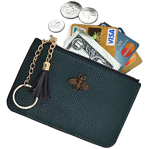 AnnabelZ Women's Coin Purse Change Wallet Pouch Leather Card Holder with Key Chain Tassel Zip (Dark Green) (Card Wallet Key)