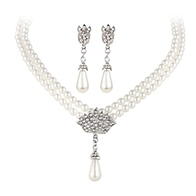 Jewelry & Watches Faux Pearl Necklace Bracelet And Earring Set White Wedding Bridesmaid Women Girl Necklaces & Pendants