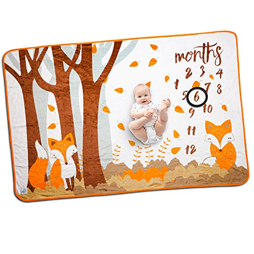 Baby Monthly Milestone Blanket for Boys and Girls Milestone Blanket Boy or Girl Photo Blanket Baby Month Blanket Woodland Fox Large Thick Fleece Photo Blankets 60 x 40 inches