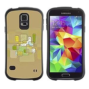 Suave TPU Caso Carcasa de Caucho Funda para Samsung Galaxy S5 SM-G900 / City Abstract Art Brown / STRONG