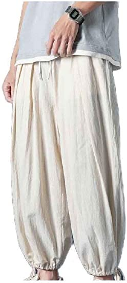 Beeatree Mens Summer Harem Relaxed Chinese Style Chinese Costume Casual Pants