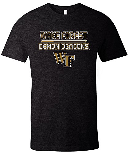 NCAA Wake Forest Demon Deacons Adult NCAA Reverse Short sleeve Triblend T-Shirt,Large,Black - Adult Short Sleeve Black T-shirt