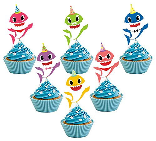 30 pieces Shark Cupcake Toppers Shark Theme Party Supplies- Shark Family Baby Shower Birthday Party -