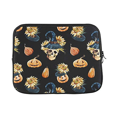 Design Custom Watercolor Pattern Halloween Pattern with Skull P Sleeve Soft Laptop Case Bag Pouch Skin for MacBook Air 11