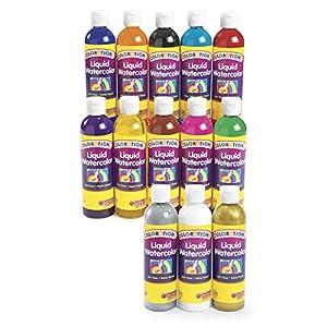 Colorations Classic Colors Liquid Watercolor Paints, 8 oz. - Set of 13 (Item # 13LW)