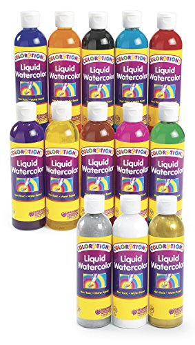 Colorations Liquid Watercolor (Colorations Classic Colors Liquid Watercolor Paints, 8 oz. - Set of 13 (Item # 13LW))