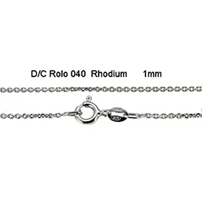 Sterling Silver 1MM Rhodium Italian Diamond Cut Rolo Chain with Spring Clasp Closure