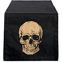 DII 14x72 Cotton Table Runner, Gold Skull Print - Perfect for Halloween, Dinner Parties and Scary Movie Nights
