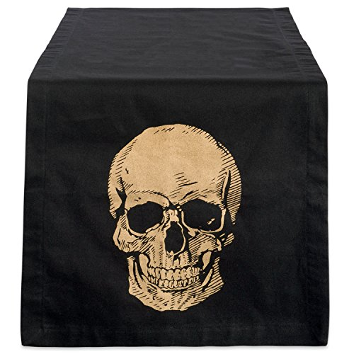 DII Cotton Table Runner Gold Skull Print 14 x 72