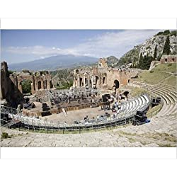 Photographic Print of The Greek and Roman theatre, Taormina, Sicily, Italy, Europe