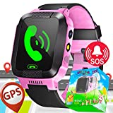 Kids Smart Watch Phone with SIM Card Slot GPS Tracker for Boys Girls with Fitness Tracker Games SOS Calls Camera Anti-Lost Wristband Bracelet Alarm Clock Holiday Birthday Gifts (Pink)