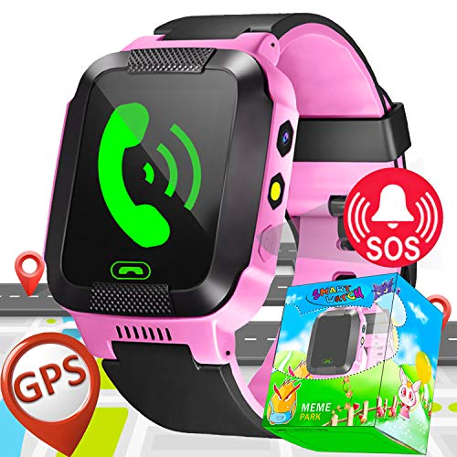 (Kids Smart Watch Phone with SIM Card Slot GPS Tracker for Boys Girls with Games SOS Calls Camera Anti-Lost Wristband Bracelet Alarm Clock Prime Deals Gifts)
