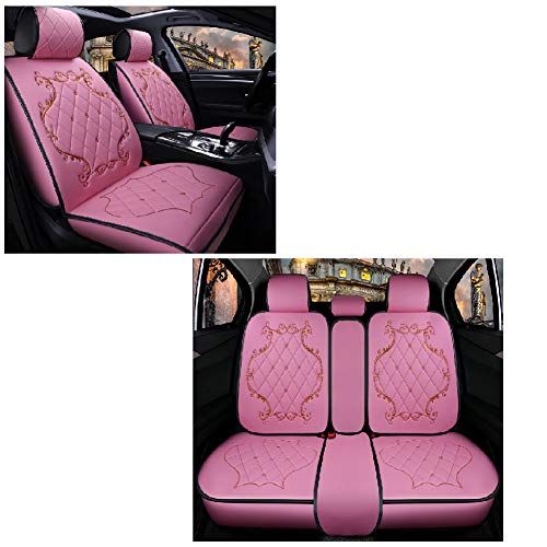 JOJOHON Crown Car Seat Covers, Fully Surrounded Unisex Seat,Winter Leather Seats Car,PU Leather And 3D Breathable Fabric (Pink):